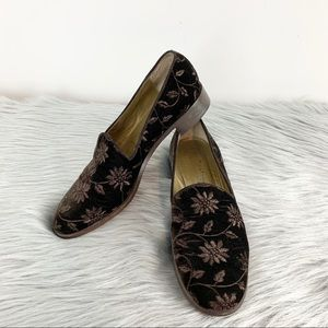 VTG YVES SAINT LAURENT Velvet smoking slipper flat